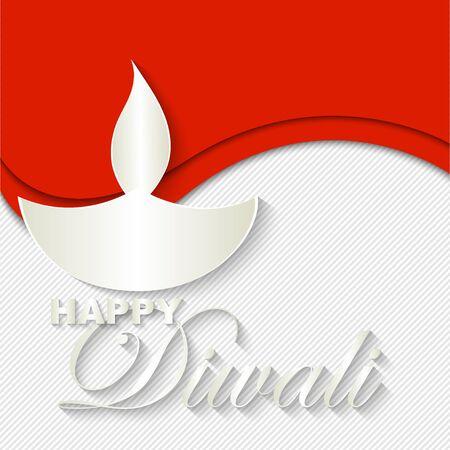 Indische Diwali lamp op originele achtergrond. Happy Diwali vector kunst illustratie. Ontwerp van wenskaart, banner, flyer, cadeaubon, uitnodiging, achtergrond voor Divali, festival van lichten. Paper cut out stijl.