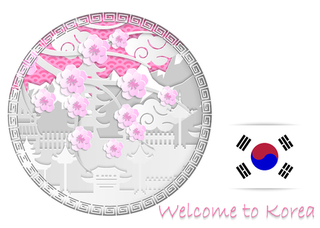 Vector illustration with oriental frame for winter sport games in PyeongChang 2018 in South Korea. Layout, design of banner, billboards, brochure, advertising posters for website or print.