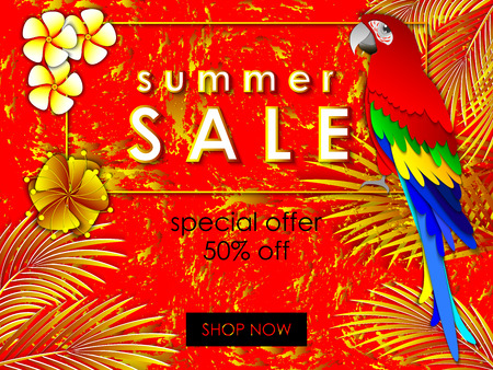 Summer sale background for banner, online shopping, web site, promotion, poster, advertising. Paper cut art style vector illustration with parrot and tropical leaves.