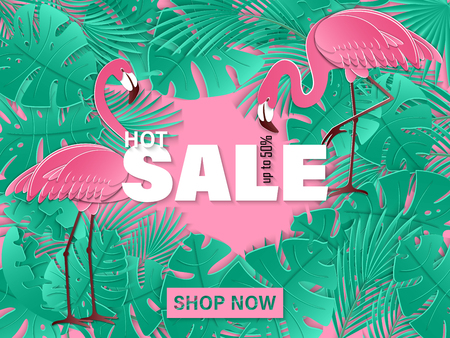 Summer sale banner with tow pink flamingo and tropical leaves background