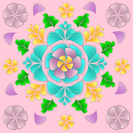 Paper flowers and petals vector illustration. Flower 3d background floral composition for design of greeting card, invitation, banner, cover, flyer, poster. The paper is cut out.