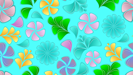 Paper flowers and petals vector seamless pattern. Flower 3d background, aspect ratio 16:9. Paper cut out style. Illustration