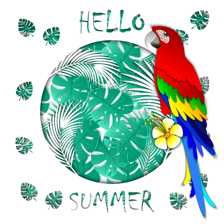 Summer banner with carved palm leaves, parrot, inscription hello summer. Exotic background. 3d design sale banner, invitation, poster, website or greeting card. Paper crop style, vector illustration.