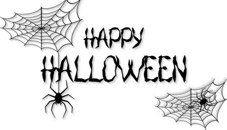 Happy Halloween text banner or background. Hand written Happy Halloween. Vector illustration.
