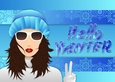Young fashionable girl in winter clothes and hand lettering Hello winter, stylized graffiti. Modern winter background, banner, advertisement, billboard. Vector illustration.