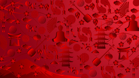 Japan red wallpaper, 16:9 aspect ratio. World of Japan pattern with modern and traditional japanise culture symbols, 2019, 2020 trend background. Vector illustration.