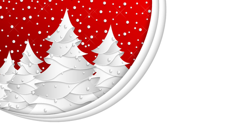 Christmas or New Year background with 16:9 aspect ratio. Winter wallpaper, white abstract ?hristmas trees on red snowing background. 3d vector illustration, paper cut style.