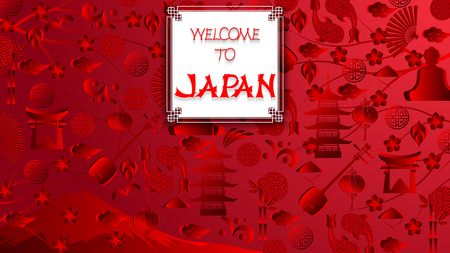 World of Japan pattern with modern and traditional japanise culture symbols and handmade inscription welcome to Japan, trend background. Japan red wallpaper, 16:9 aspect ratio. Vector illustration.