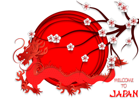 Japanese red dragon cut out of paper on the background of the Japanese flag, cherry blossoms and hand lettering Welcome to Japan. 3d vector illustration of the Japanese flag. Travel brochure design el 일러스트