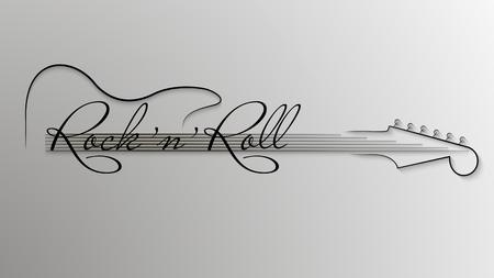 Logo astratto di musica. Sfondo di musica rock n roll in bianco e nero. Elemento di design per invito a feste, discoteche, banner musicali, volantini, copertine. Illustrazione vettoriale