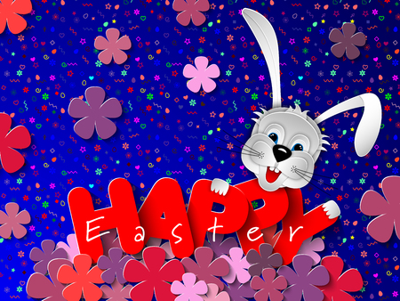Paper cut rabbit head on festive seamless pattern background with spring flowers of lilac. Happy Easter banner, background, greeting card, invitation. 3D vector illustration. Paper cut out art style. Ilustração