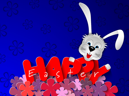 Paper cut rabbit head on festive blue background with spring flowers of lilac. Happy Easter banner, background, greeting card, invitation. 3D vector illustration. Paper cut out art style. Ilustração