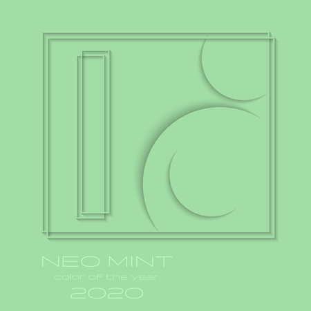 Abstract 3d background with neo mint paper layers. Neo Mint color of the Year 2020 inscription. Vector geometric illustration. Graphic design element. Ilustração