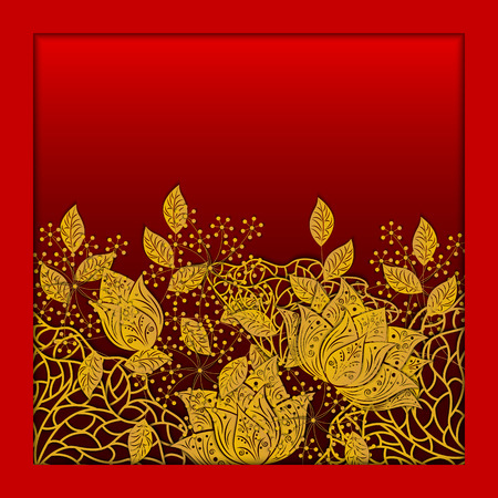 Background with flower lotos, leaves. Wedding ornament concept. Floral poster, invitation, flyer, cover, banner, background. 3D vector illustration. Paper cut out art style. 일러스트