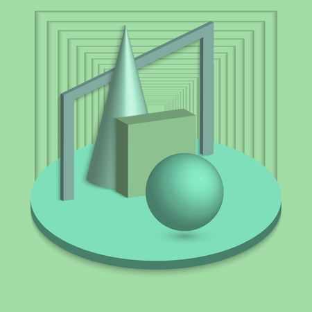 Universal trend geometric shapes set, neon mint colors elements. Neo mint color of the Year 2020. 3D vector illustration. Paper cutout art style. Trendy background, design, banner, flyer, poster. Ilustração