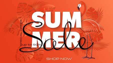 Summer sale banner with paper cut flamingo and tropical leaves background, exotic floral design for banner, flyer, invitation, poster, web site or greeting card. Paper cut style. Vector illustration