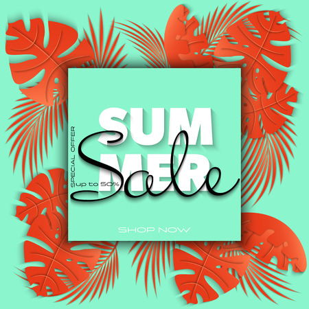 Summer sale banner with paper cut tropical leaves on neon mint background, exotic floral design for banner, flyer, invitation, poster, web site or greeting card. Paper cut style. Vector illustration 版權商用圖片 - 122900178