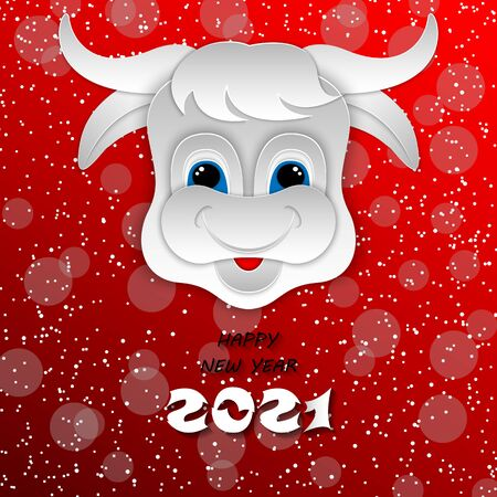 Happy Chinese new year 2021 Ox zodiac sign. Paper cut art craft style Ox on red background for greetings card, invitation, banner. 3D vector illustration.