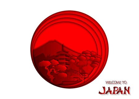 Japanese landmarks on the background of the japanese flag. Elements for design of travel brochures, cards, banners, covers. 3d vector illustration, paper cut style.