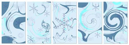 Five winter backgrounds with copy space for text. Every background is isolated. Good for Happy New Year, Merry Christmas, social media stories, banner, greeting card, poster, ad, discount banner.