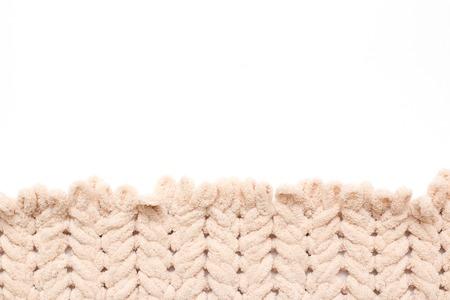 knitting yarn without knitting needles. White Font.