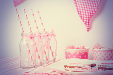 party pastries: dessert table served in pink girls party
