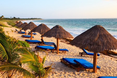 carribean: Beach chairs in luxury resort on carribean coast, Mexico