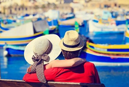 happy loving couple on vacation in Malta, Europe