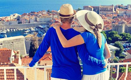 romantic hug: happy couple on summer vacation in Europe, Croatia