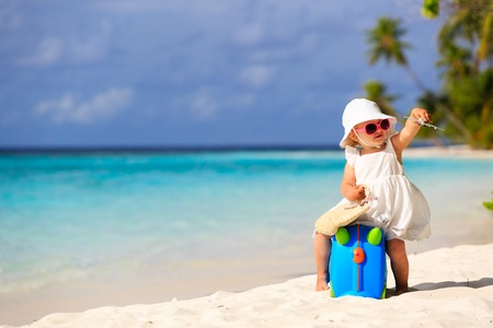travel luggage: cute little girl travel on summer beach, kids travel
