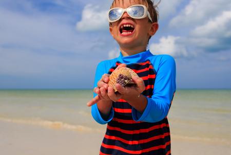 seashell: little boy holding seashells on summer tropical beach Stock Photo