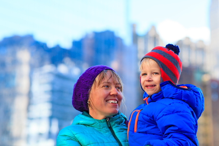 downtown manhattan: happy mother and son in downtown Manhattan, New York City
