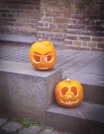 jack'o'lantern: Jack-o-lantern - halloween pumpkin in the street
