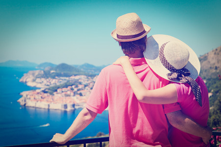 europe: happy couple on summer vacaton in Europe