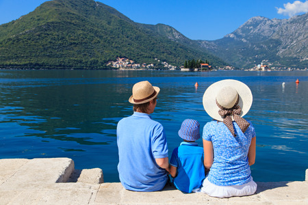 family with kid looking at scenic view in Montenegro Foto de archivo