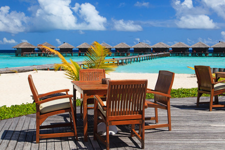 resort beach: cafe on beach resort, luxury tropical vacation Stock Photo