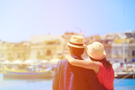 tourist travel: happy young loving couple in Malta, europe