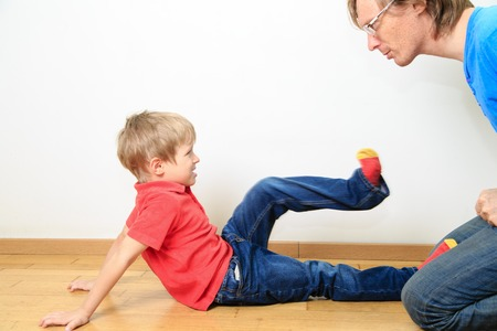 family fight: father and son conflict, problems in family
