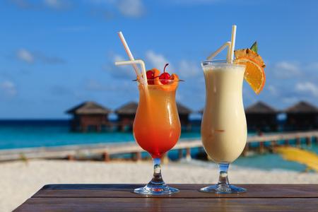 pina colada: pina colada cocktail on tropical beach resort