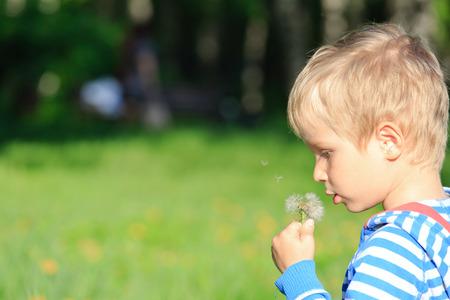 blowing dandelion: Little boy blowing dandelion on summer day Stock Photo