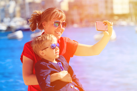 europe: mother and little son making selfie while travel in Europe, Malta