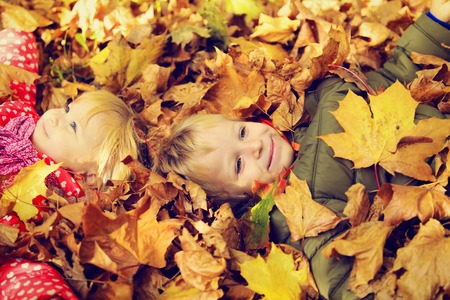 happy kids having fun in autumn fall leaves