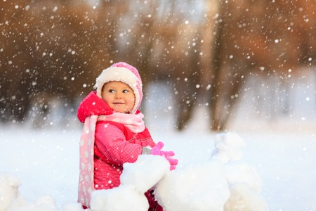 cool people: cute happy little girl play in winter snow Stock Photo