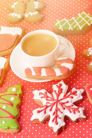 gingerbread cookies: Christmas homemade gingerbread cookies, christmas holiday concept Stock Photo