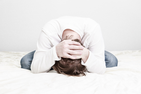 desperation: stressed man, desperation and emotional stress, difficulties