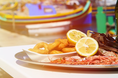 seafood platter: Seafood platter served in mediterranean sea restaurant Stock Photo