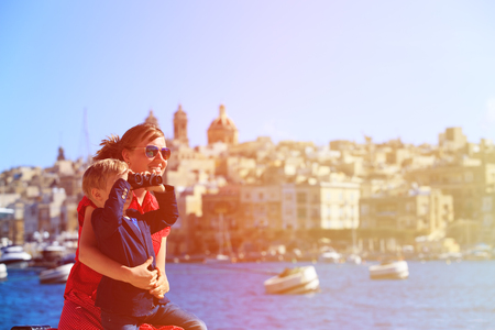 travellers: mother and son travel in Malta, Europe, family travel