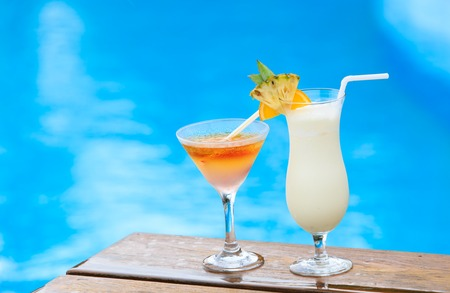 Two cocktails on luxury tropical beach resort