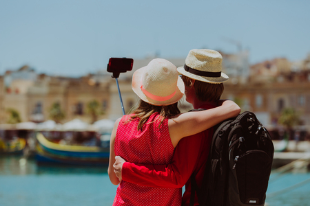 young couple travel in Europe making selfie, travel concept Stock Photo