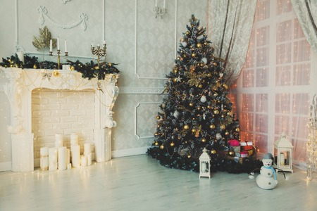 indoor background: Christmas living room interior decoration, Holiday concept Stock Photo